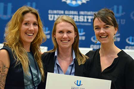 Left to right, grad students Alexandra Alden, Savannah Hicks and Genevieve Smith