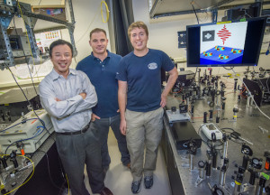 Xiang Zhang, Haim Suchowski and Kevin O'Brien were part of the team that produced, detected and controlled ultrahigh frequency sound waves at the nanometer scale. (Photo by Roy Kaltschmidt)