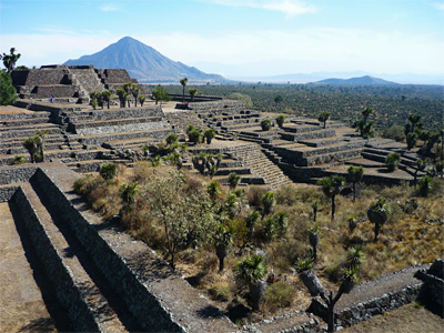 Ruins of the city of Cantona in the Mexican state of Puebla, with the mountain Pico de Orizaba in the background. The city was abandoned almost 1,000 years ago, probably as a result of a prolonged dry spell.