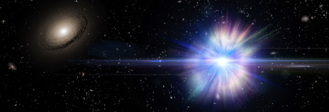 Artist's concept of a Type Ia supernova exploding in the region between galaxies in a large cluster of galaxies, one of which is visible at the left.