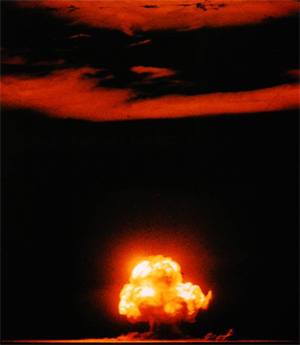 The July 16, 1945, Trinity nuclear test as photographed by Jack W. Aeby,a civilian worker at Los Alamos laboratory, working under the aegis of the Manhattan Project. Courtesy of Google-hosted LIFE Photo Archive.