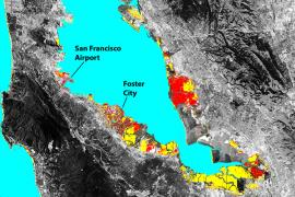 Map of the bay area, portions of the south bay below foster city are at risk of flooding by 2100 because of sea level rise alone, red areas across the bay from foster city because of sea level rise and local land subsidence