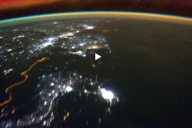earth surface from satellite perspective, night skies