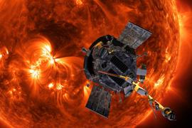 the solar probe flying over the surface of the sun