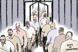 Cartoon of prisoners going through revolving door