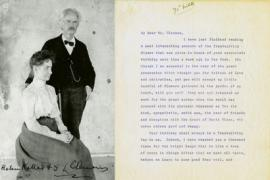 A composite image of Mark Twain posing with Helen Keller next to a letter written by Keller to Twain