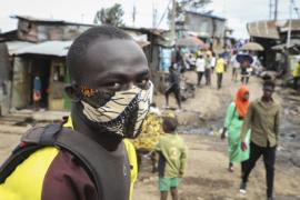 The driver of a motorcycle taxi in Kenya wears a makeshift mask to protect against the COVID19 virus. [AP photo by Patrick Ngugi]