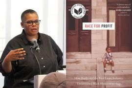 "Keeanga-Yamahtta Taylor talking next to a photo of her book ""Race for Profit"""