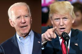 informal headshots of Democratic presidential candidate Joe Biden (left) and incumbent Republican Donald Trump