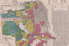 A historical map of San Francisco in which each neighborhood has been shaded in red, yellow or green according to its Home Owners' Loan Corp. investment rating