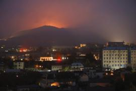 Bursts of explosions are seen during fighting between Armenian and Azerbaijan's forces near Shushi outside Stepanakert, the separatist region of Nagorno-Karabakh, Thursday, Nov. 5, 2020. Fighting over the separatist territory of Nagorno-Karabakh entered sixth week on Sunday.