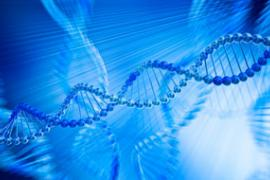 An illustration of DNA molecules against a blue background