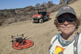 Becca Fenwick with drone at Berkeley's Blue Oak Ranch Reserve