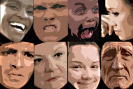 Posterized faces with different expressions of emotion.