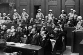 people in courtroom at nuremberg trials