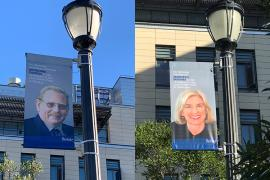 banners celebrating the Nobel Prize wins of Genzel and Doudna
