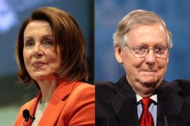 headshots of U.S. House Speaker Nancy Pelosi and Senate Majority Leader Mitch McConnell