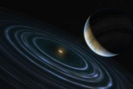 artist's impression of a planet orbiting far from its binary star