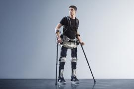 Steven Sanchez wears SuitX - an exoskeleton