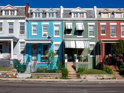 colorful, slightly weathered, row houses